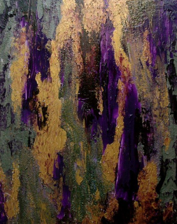 Emerald Amethyst Waterfall Glass Beads Abstract Canvas Painting Art Metallic Gold Purple 16 X 20