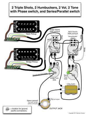 Seymour Duncan wiring diagram  2 Triple Shots, 2 Humbuckers, 2 Vol, 2 Tone (one with Phase
