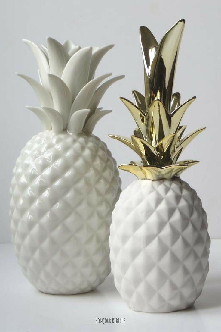 Ananas Blanc Et Dor Cadeaux De Crmaillre Ananas Deco