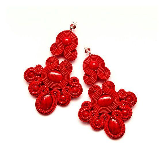 Red Chandelier Earrings Soutache Jewellery Beading Large Unique Statement