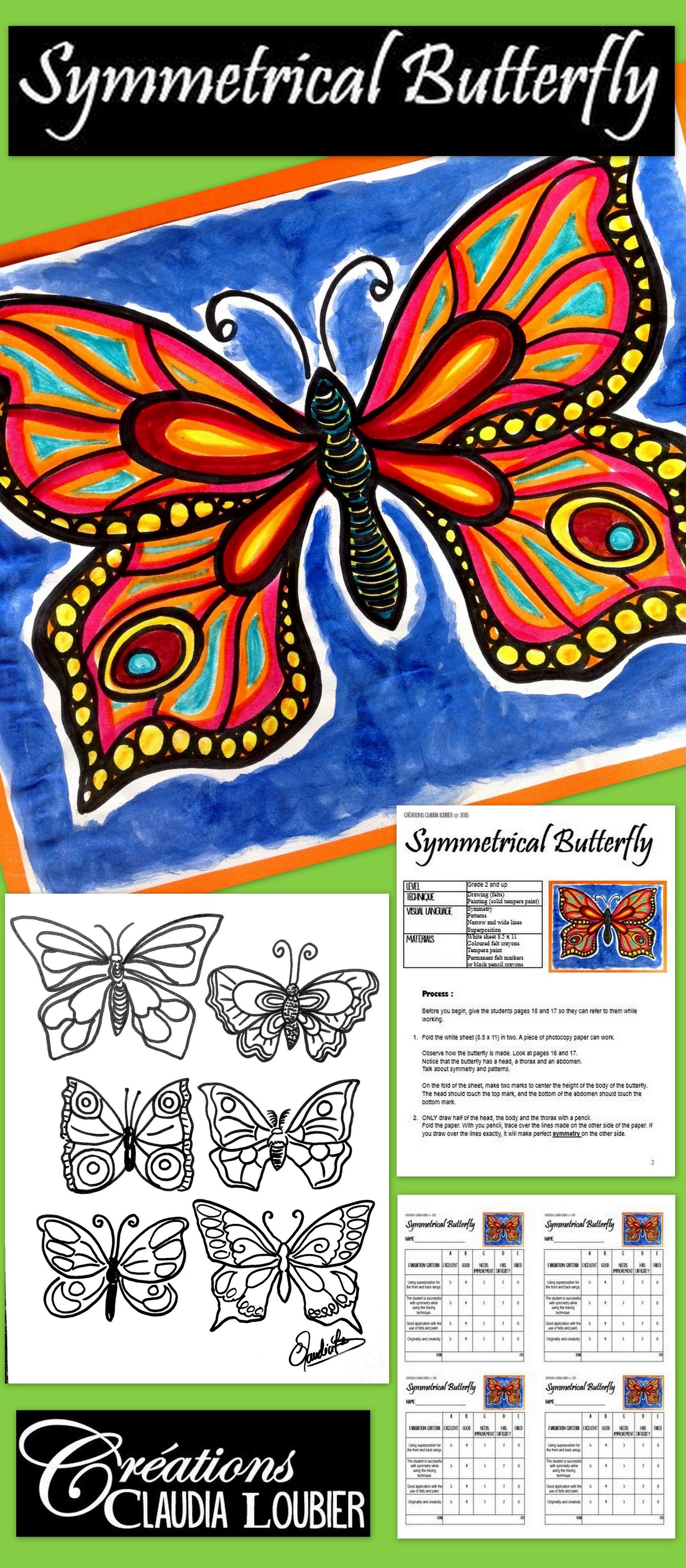 Spring Art Lesson For Kids Symmetrical Butterfly Math
