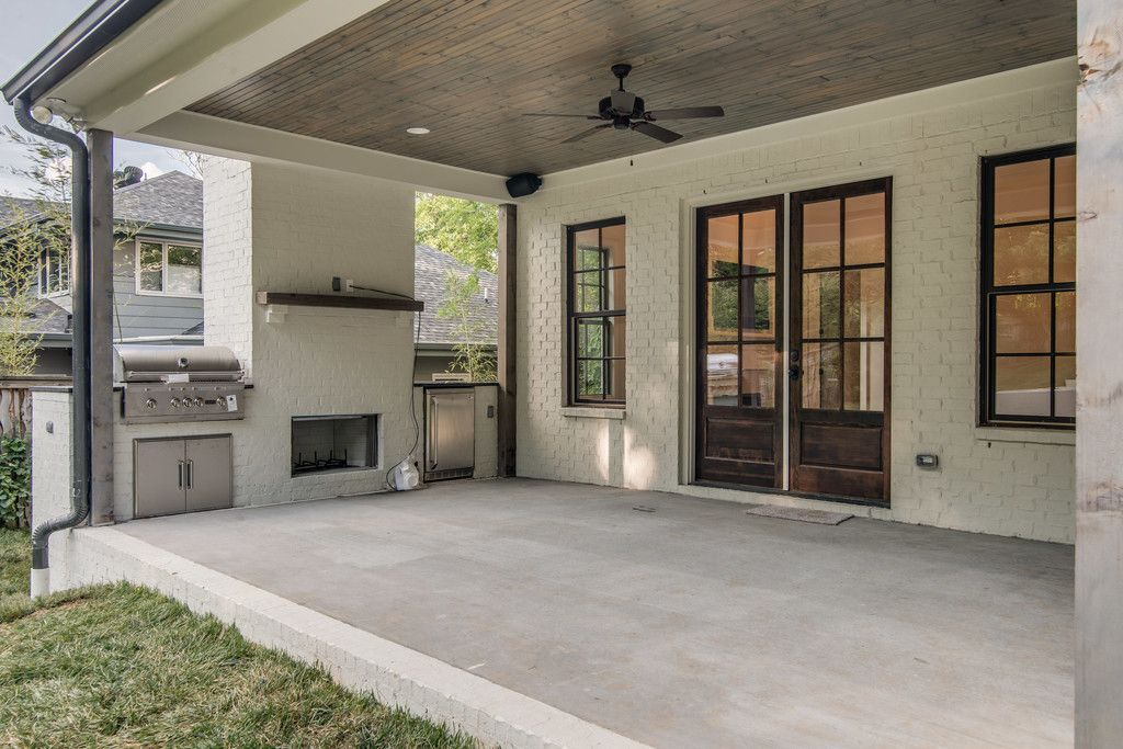 covered porch with outdoor kitchen 4103 Wallace - Vintage ... on Covered Outdoor Kitchen With Fireplace id=55263