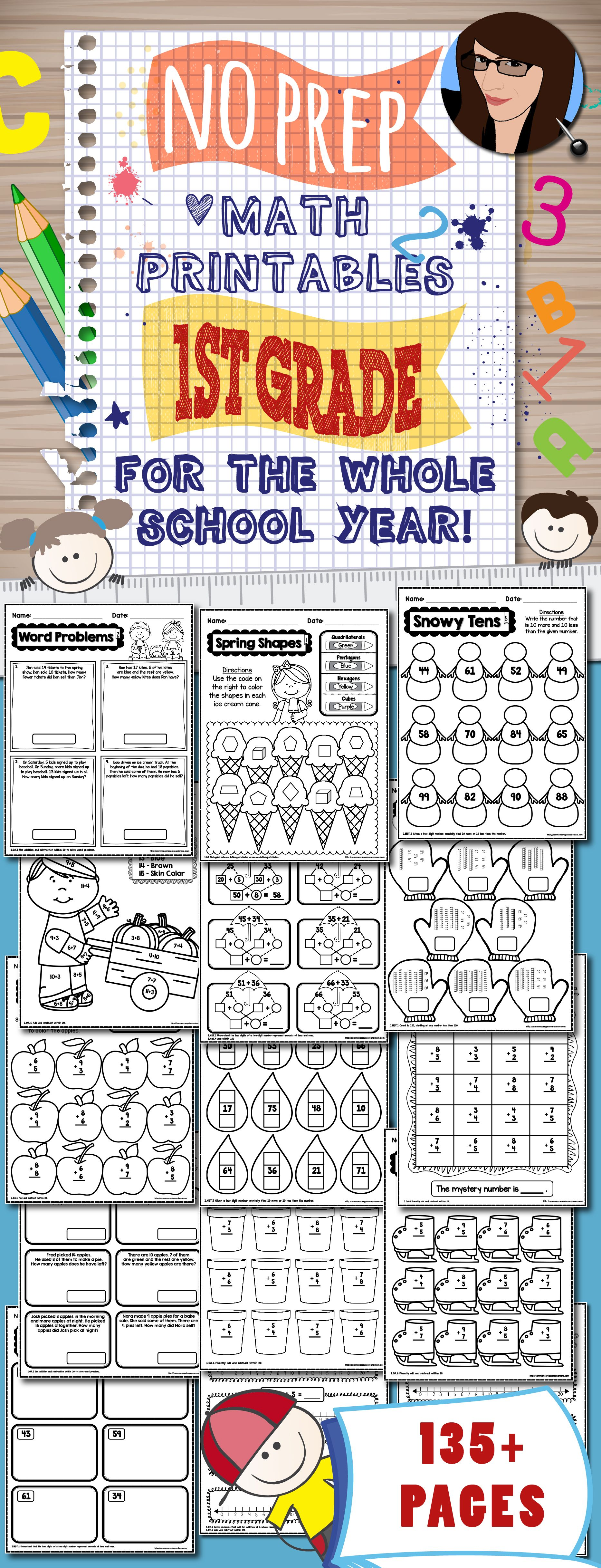 No Prep Math Printables For The Whole School Year