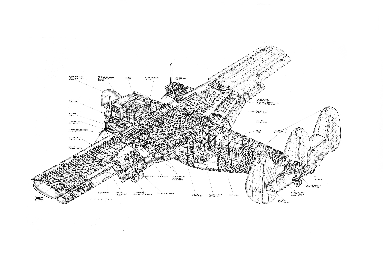 Scottish Aviation Twin Pioneer Cutaway Drawing