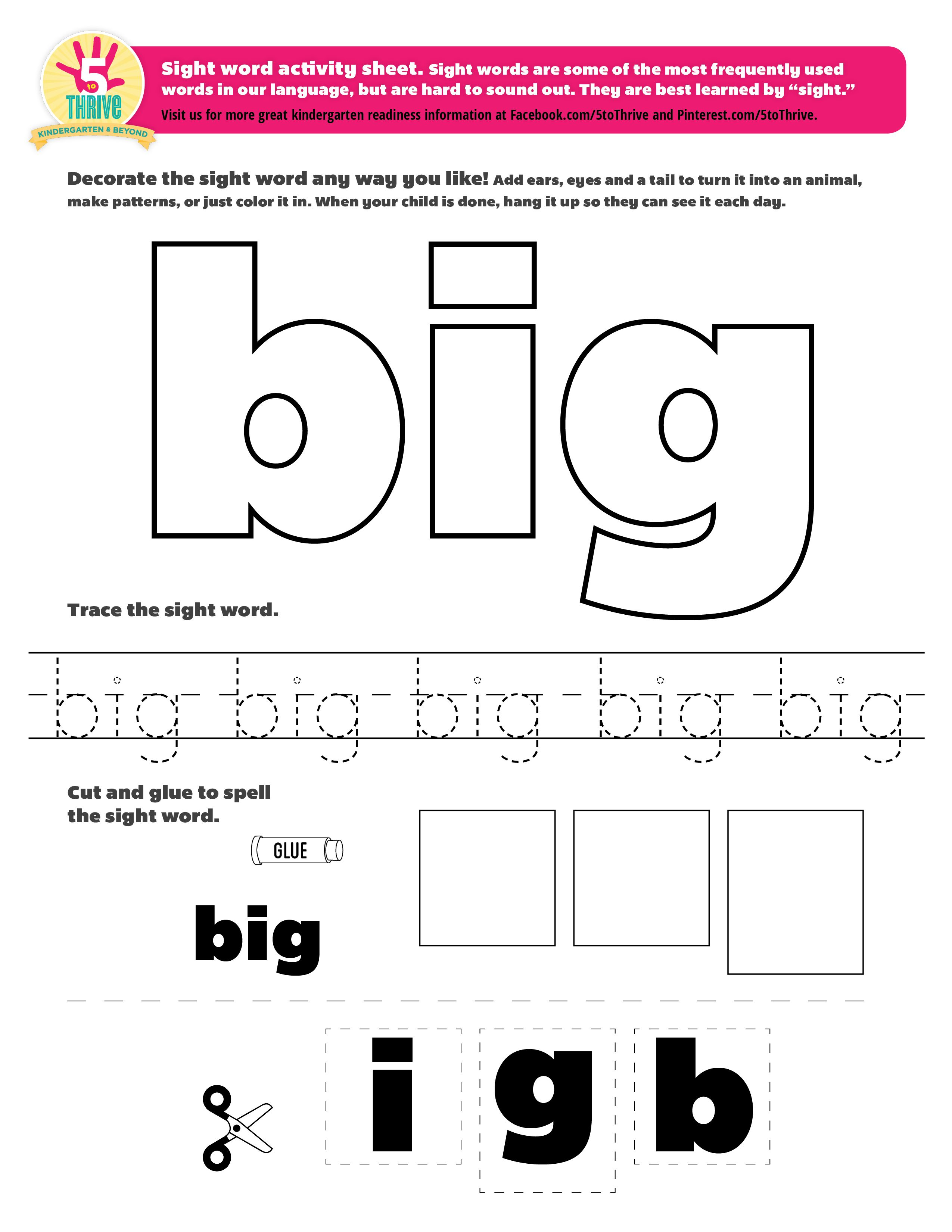 Sight Word Big Sight Words Are Some Of The Most