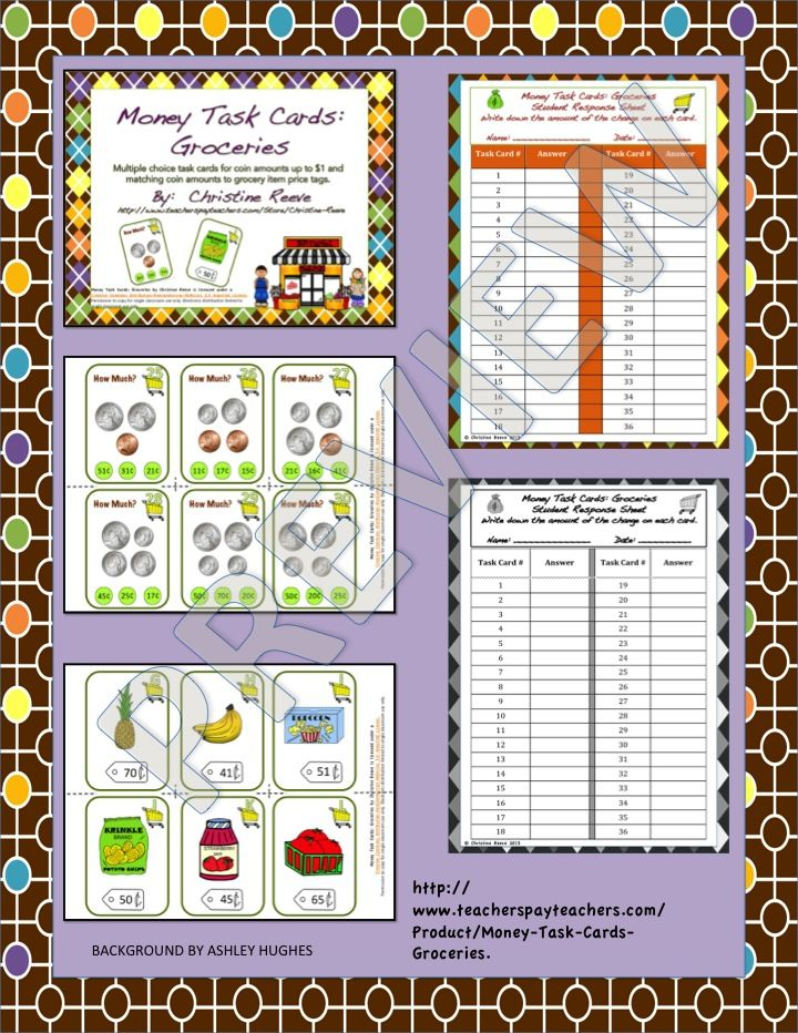 Money task cards 1groceries special educationcoins to