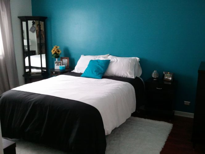 black white and teal bedroom - bedroom style ideas