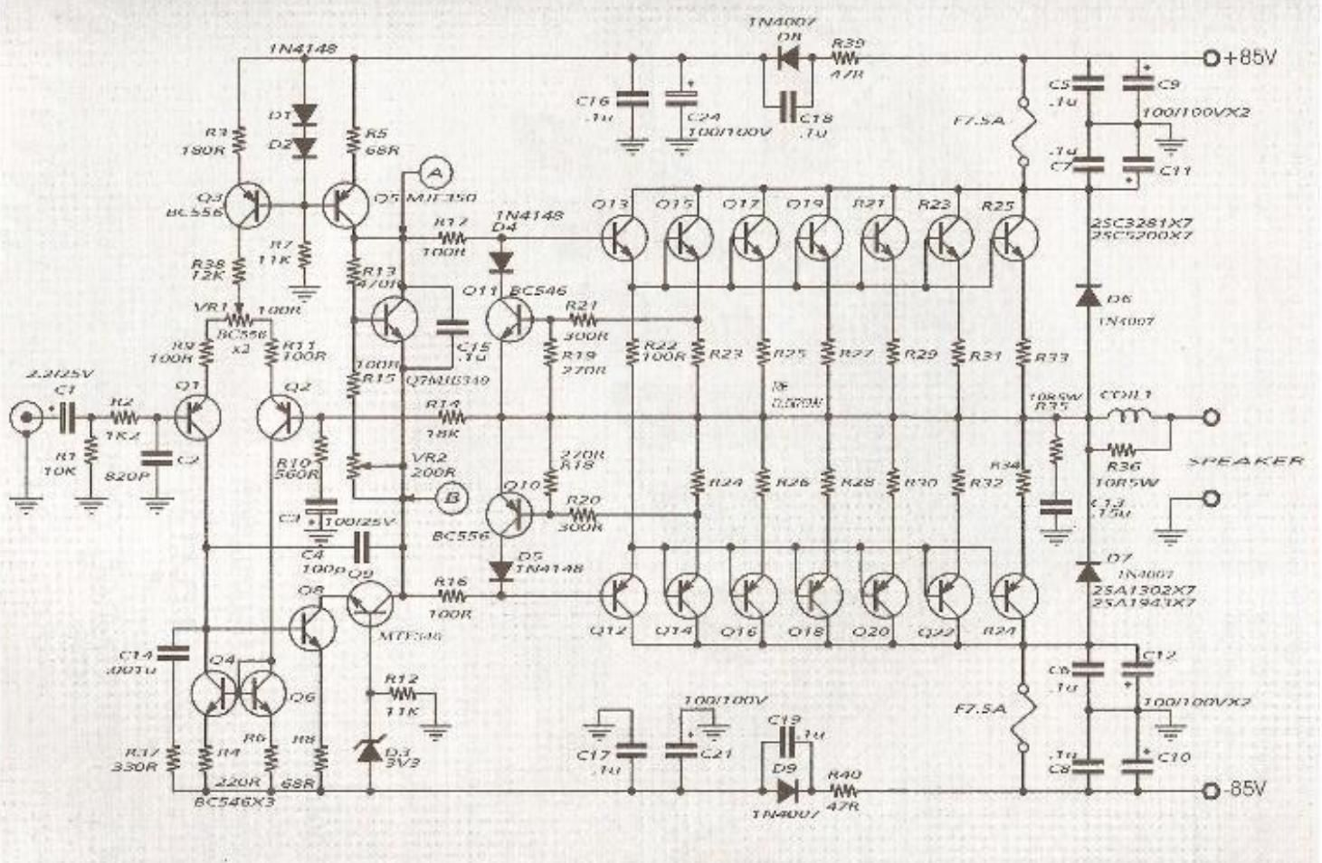 600w Audio Amplifier Circuit With 2sc 2sa