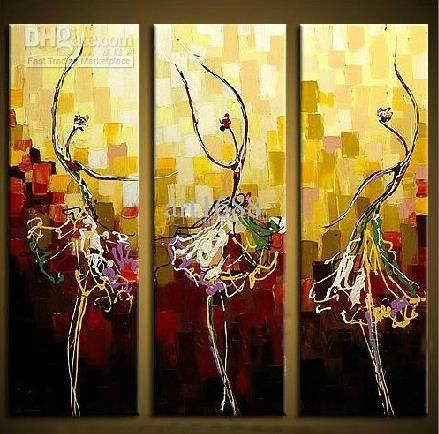 Ballerina Girl Modern Canvas Art Wall Decor Abstract Oil Painting With Stretched Frame Ready To Hang