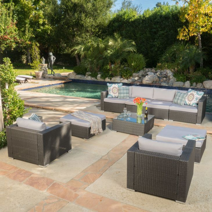 ad Modway Summon Piece Outdoor Patio Sectional Set With
