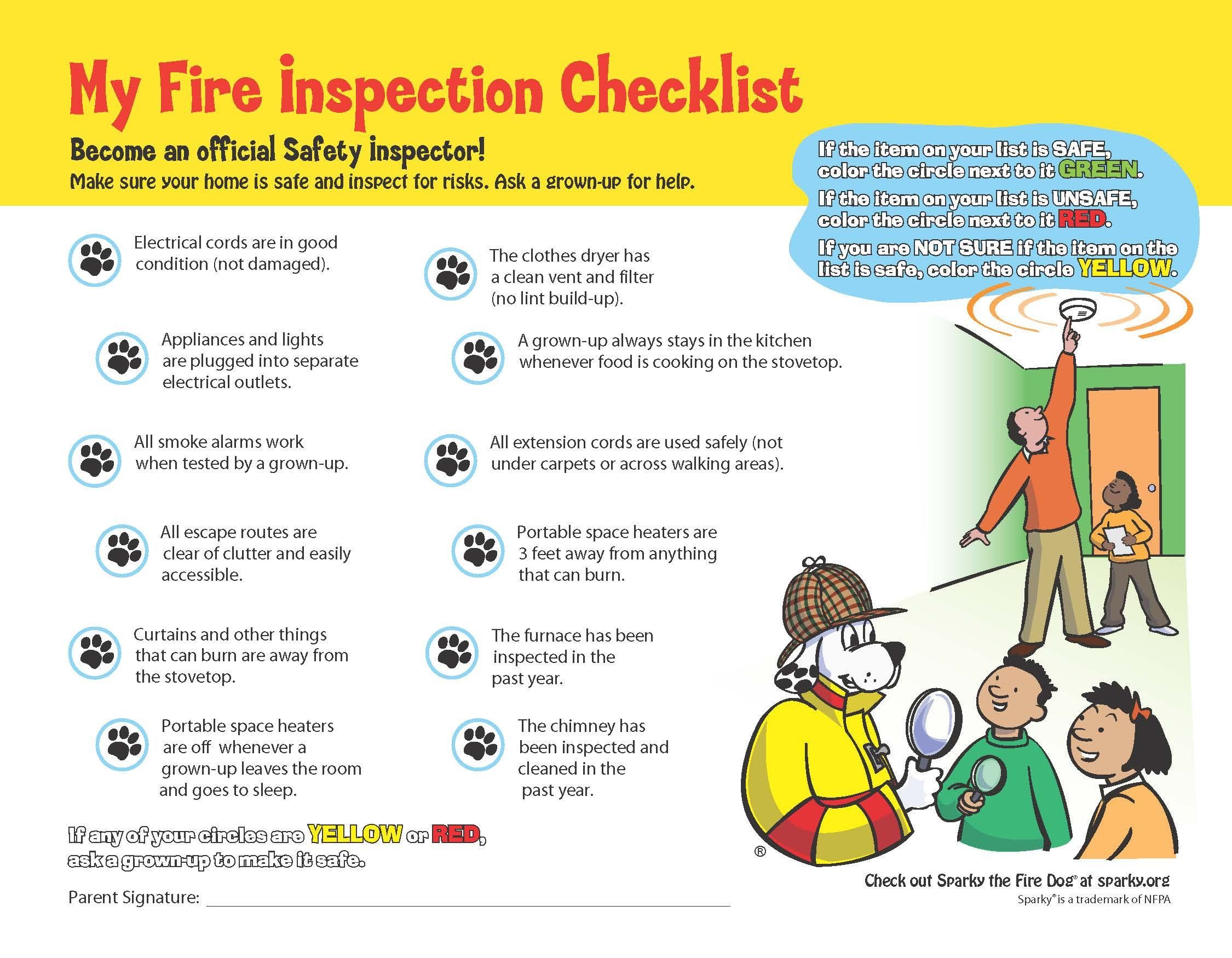 Sparky S Home Fire Inspection Checklist