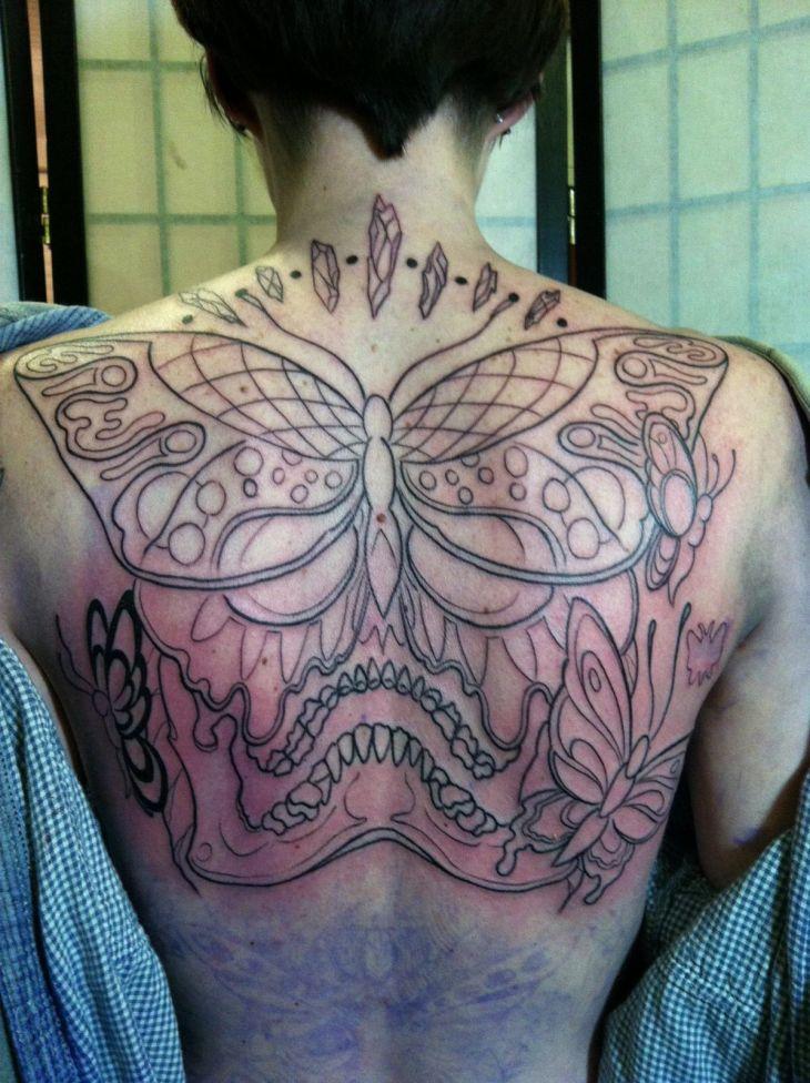 Skull and butterflies Adornment Pinterest Tattoo