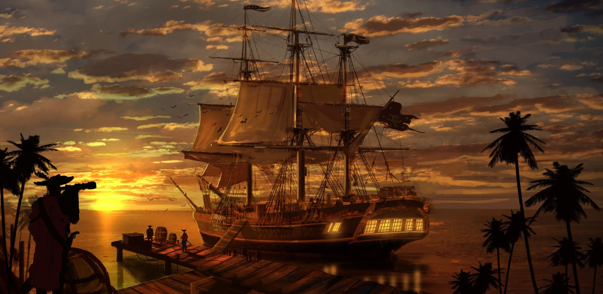 fantasy ship dock loading departure pirate ship pirate pier sunset