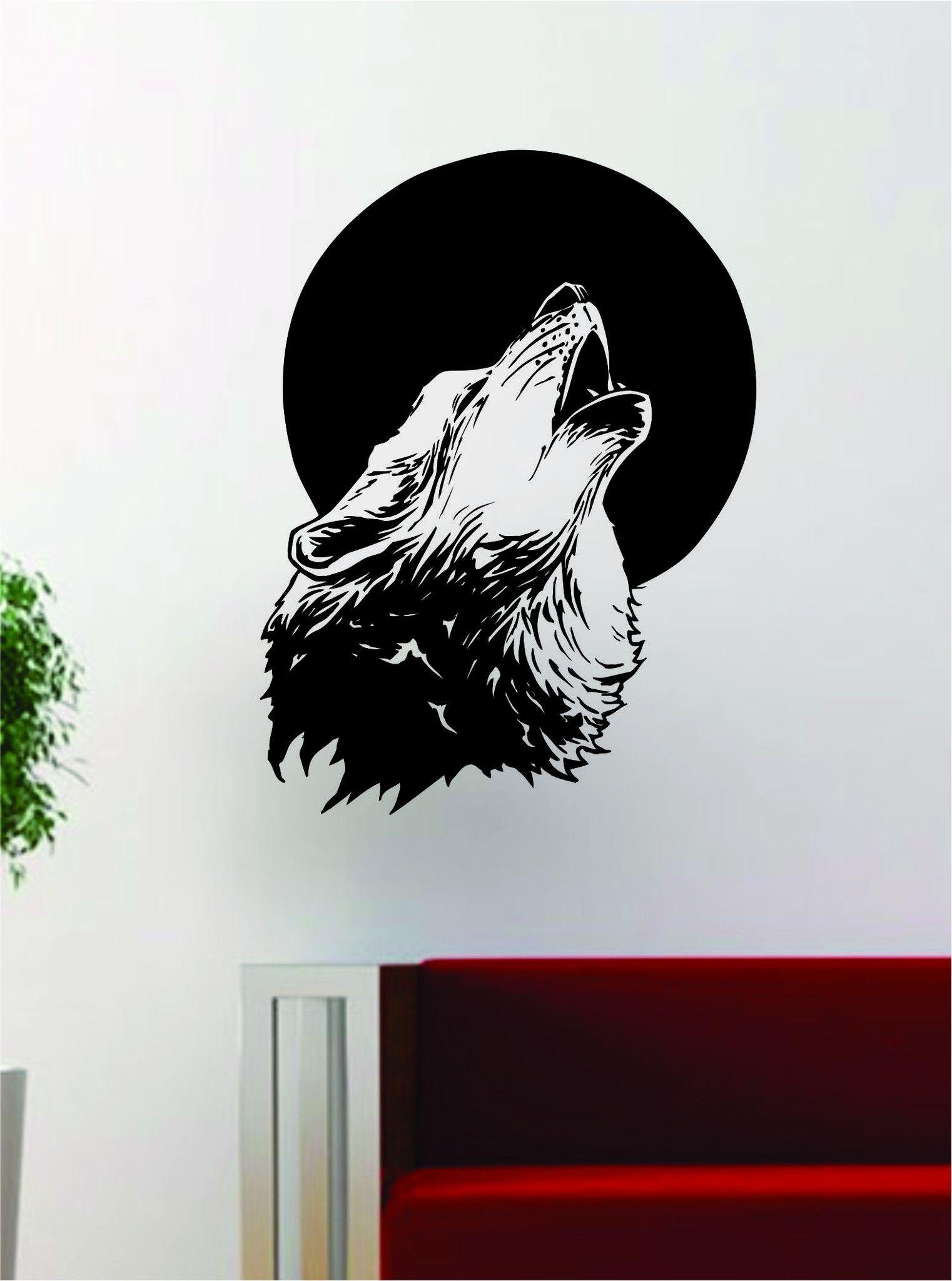 Wolf Howling Moon Design Decal Sticker Wall Vinyl Art Home