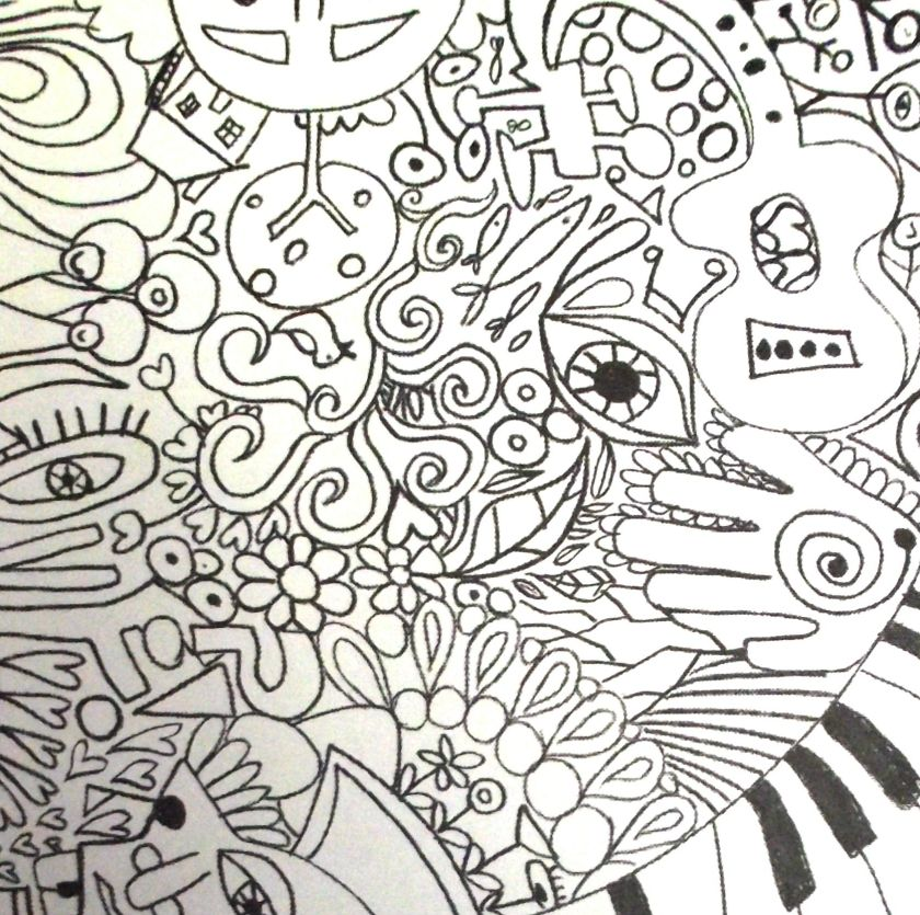 trippy coloring pages  rock art series — the beatles