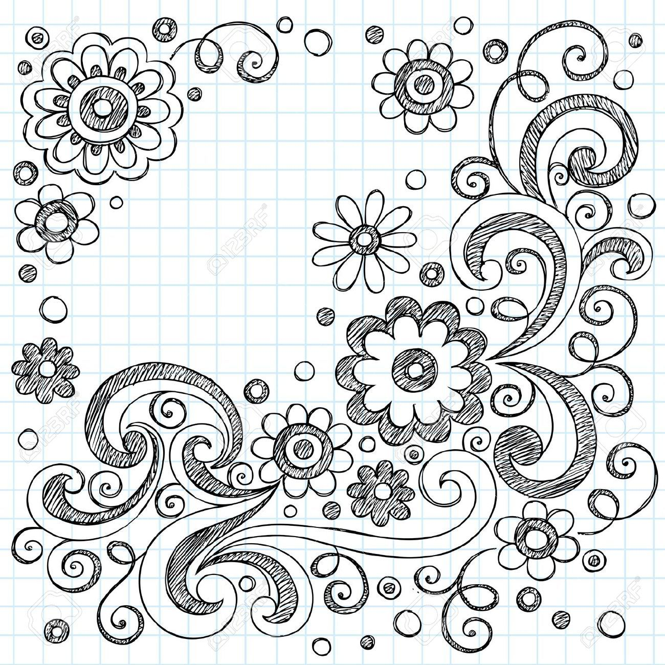 Hand Drawn Flowers Back To School Sketchy Notebook Doodles