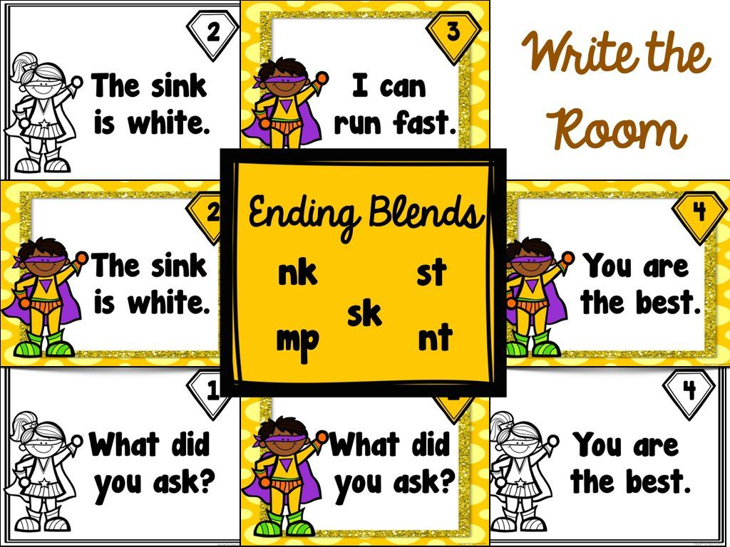 Ending Blends Worksheets Anchor Charts And Write The Room