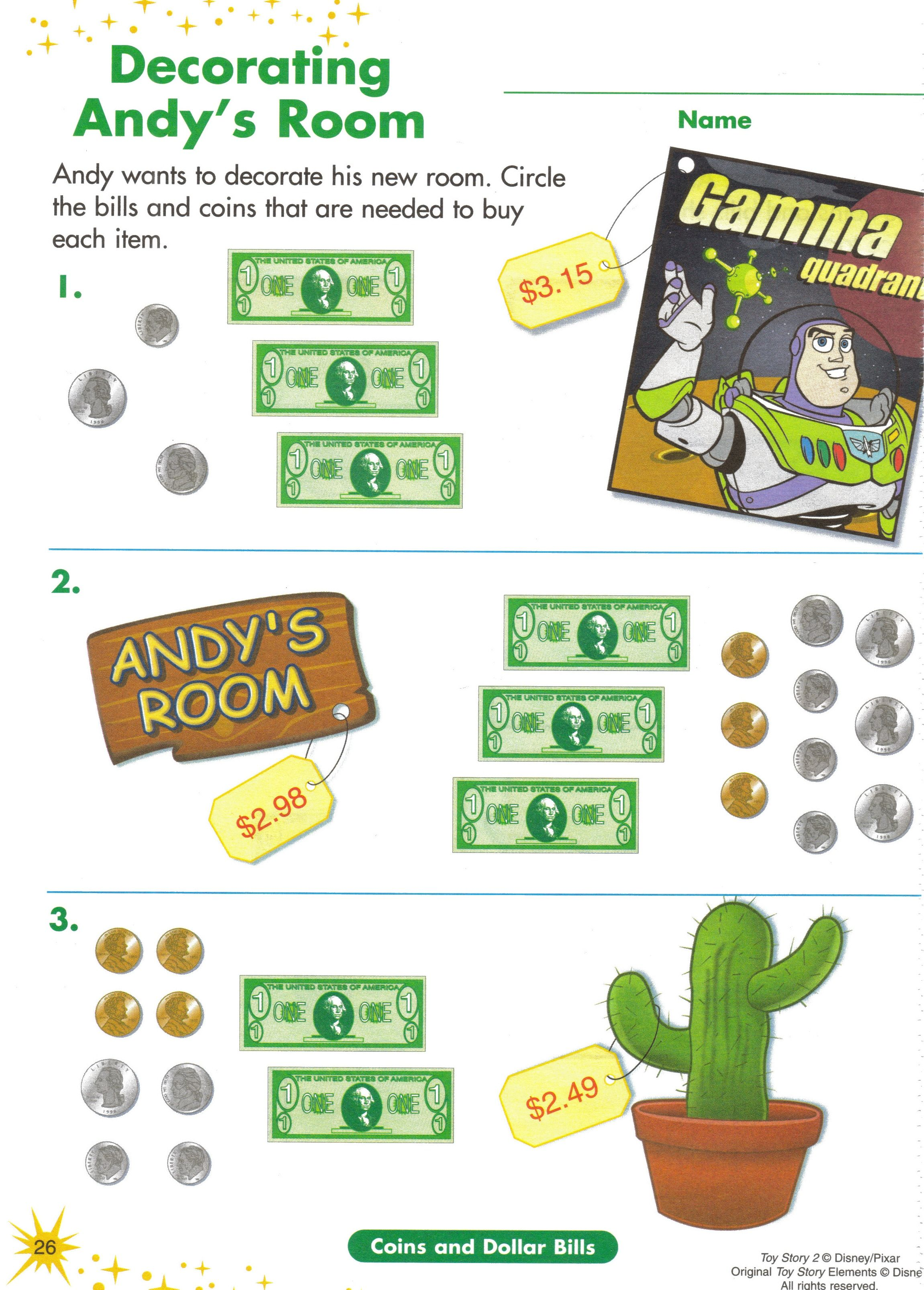 10 Math Activity Toy Story Money Work Sheet Use Toy Money To Help Visualize Money Value