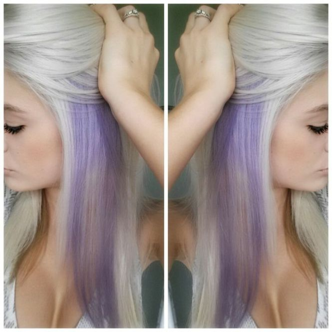 Blonde hair with purple highlights underneath the best blonde blonde hair with color highlights underneath pmusecretfo Choice Image