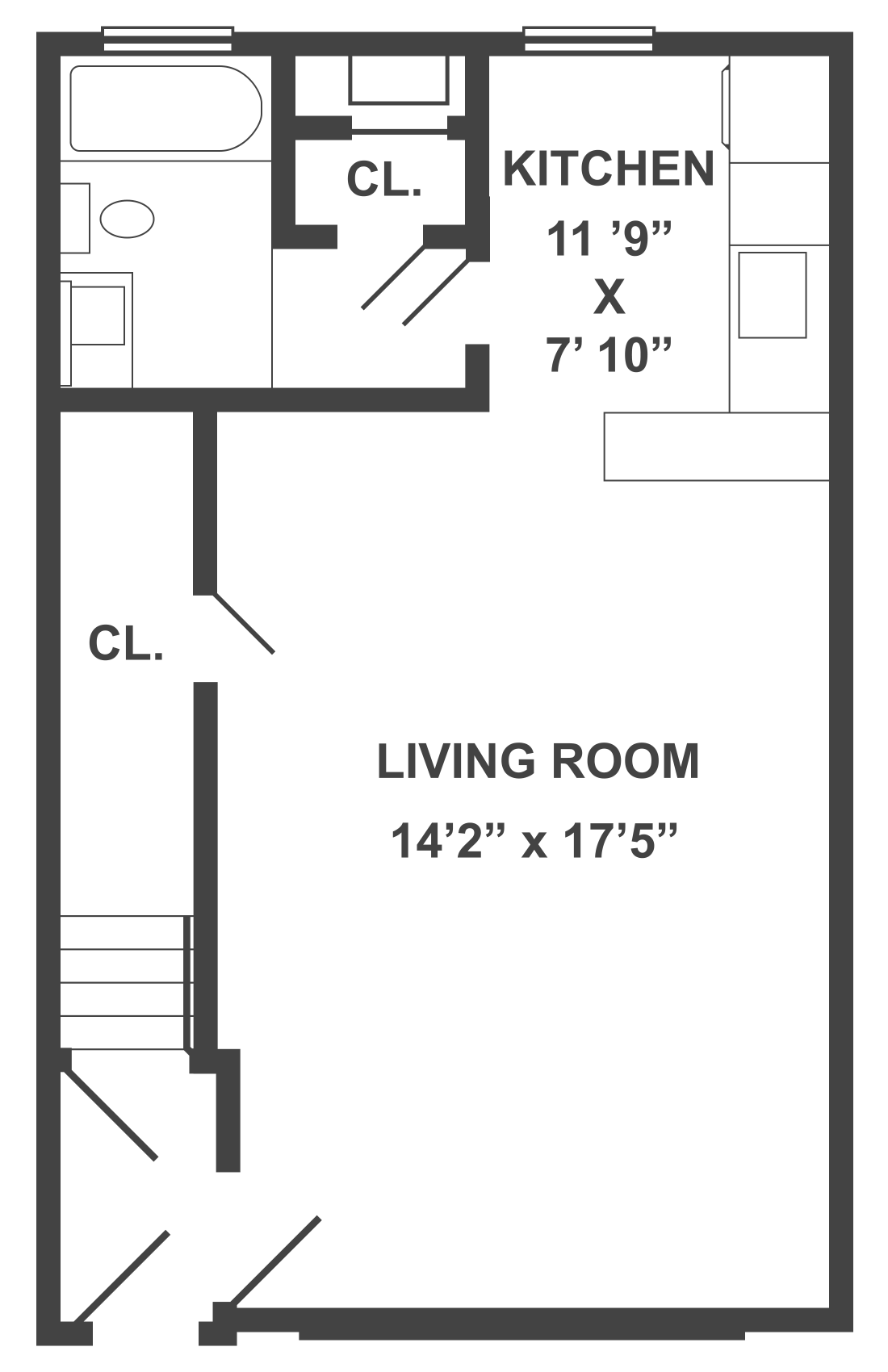 Typical Studio Apartment Floor Plan