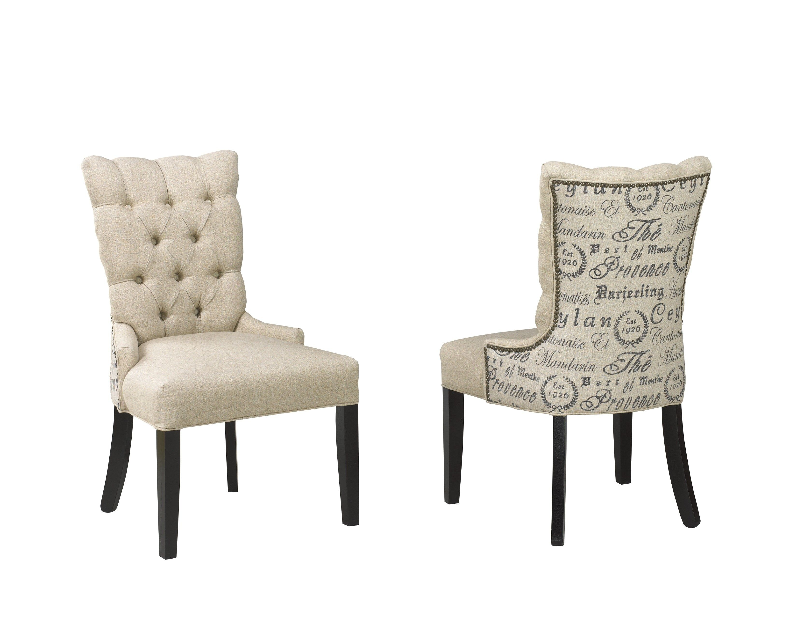 Charming White Crown Fabric Dining Chairs Together With