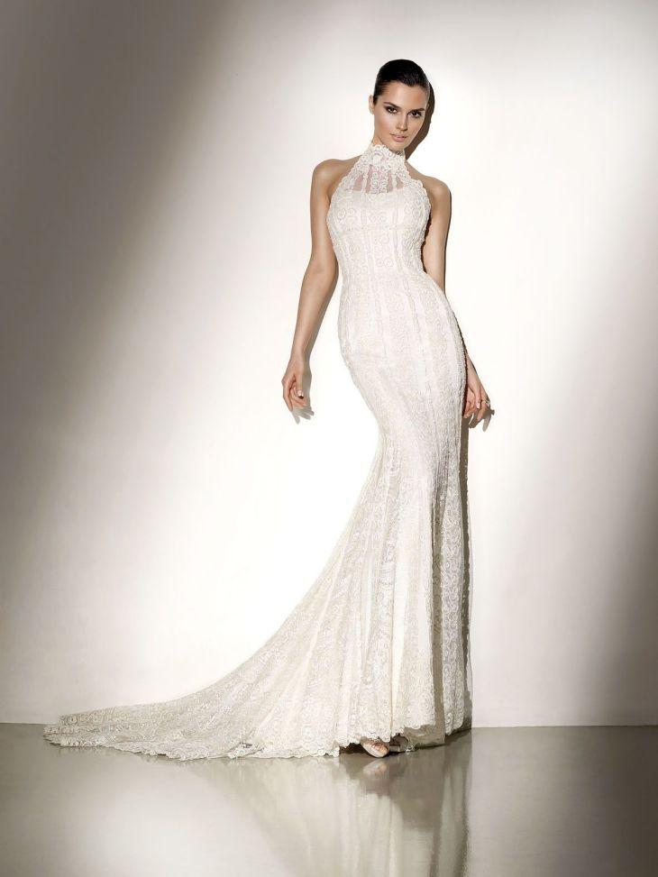 High Collar Lace Appliqued Satin Wedding Gown  Designer