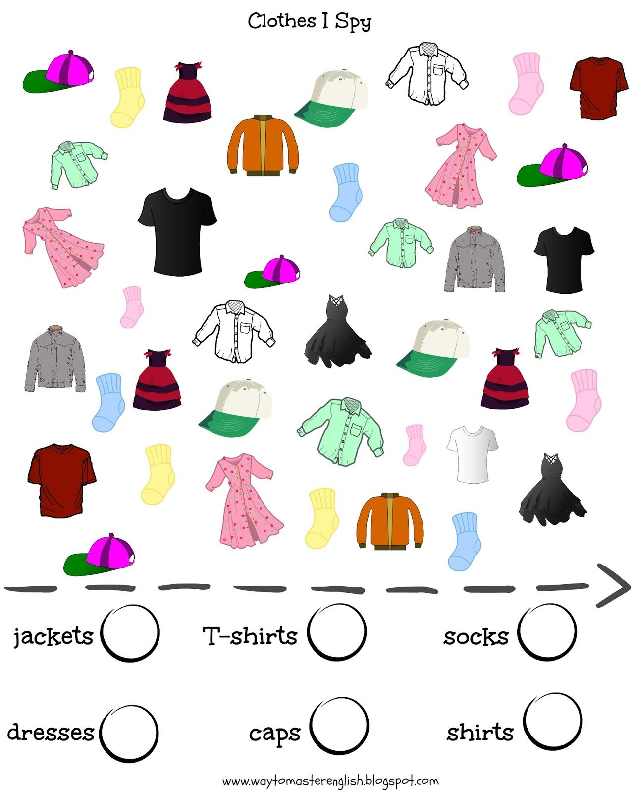 Vocabulary Clothes I Spy Kids Young Learners
