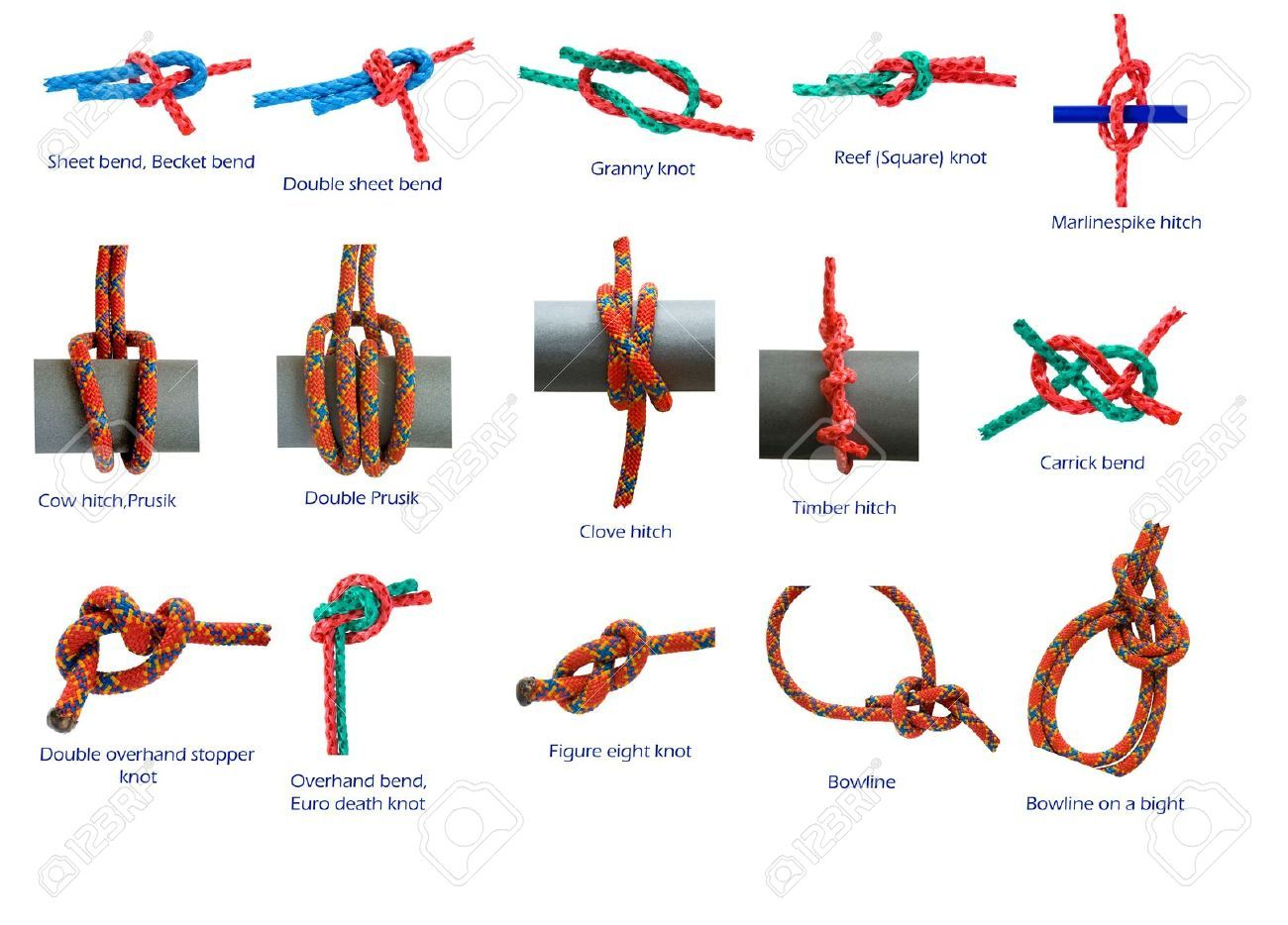 Different Knots Isolated In White Stock Photo Knot