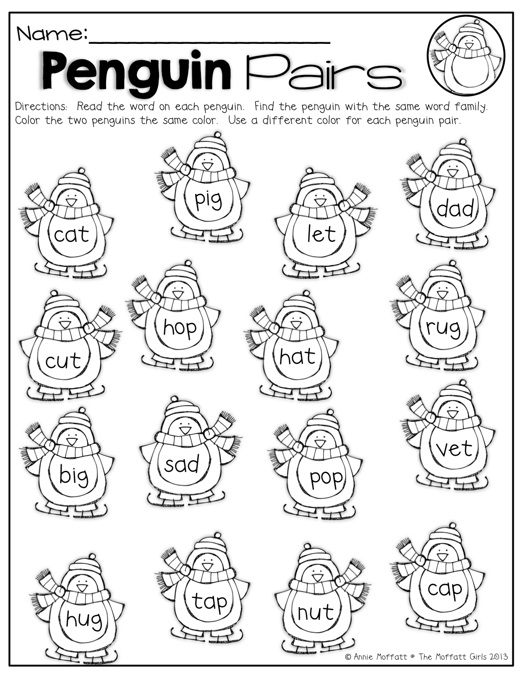 Penguin Positional Words Worksheet
