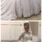 High neck lace long sleeves wedding dress illusion back bridal gown