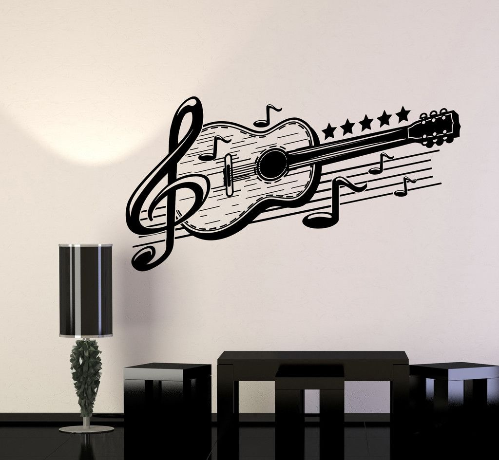 vinyl wall decal guitar musical art music decor stickers on wall stickers painting id=20832