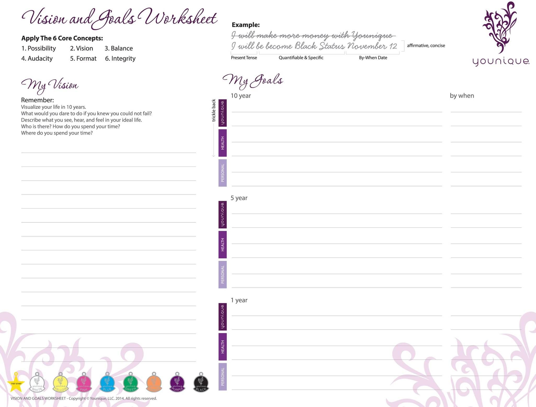 Younique Vision And Goals Work Sheet File Print Out