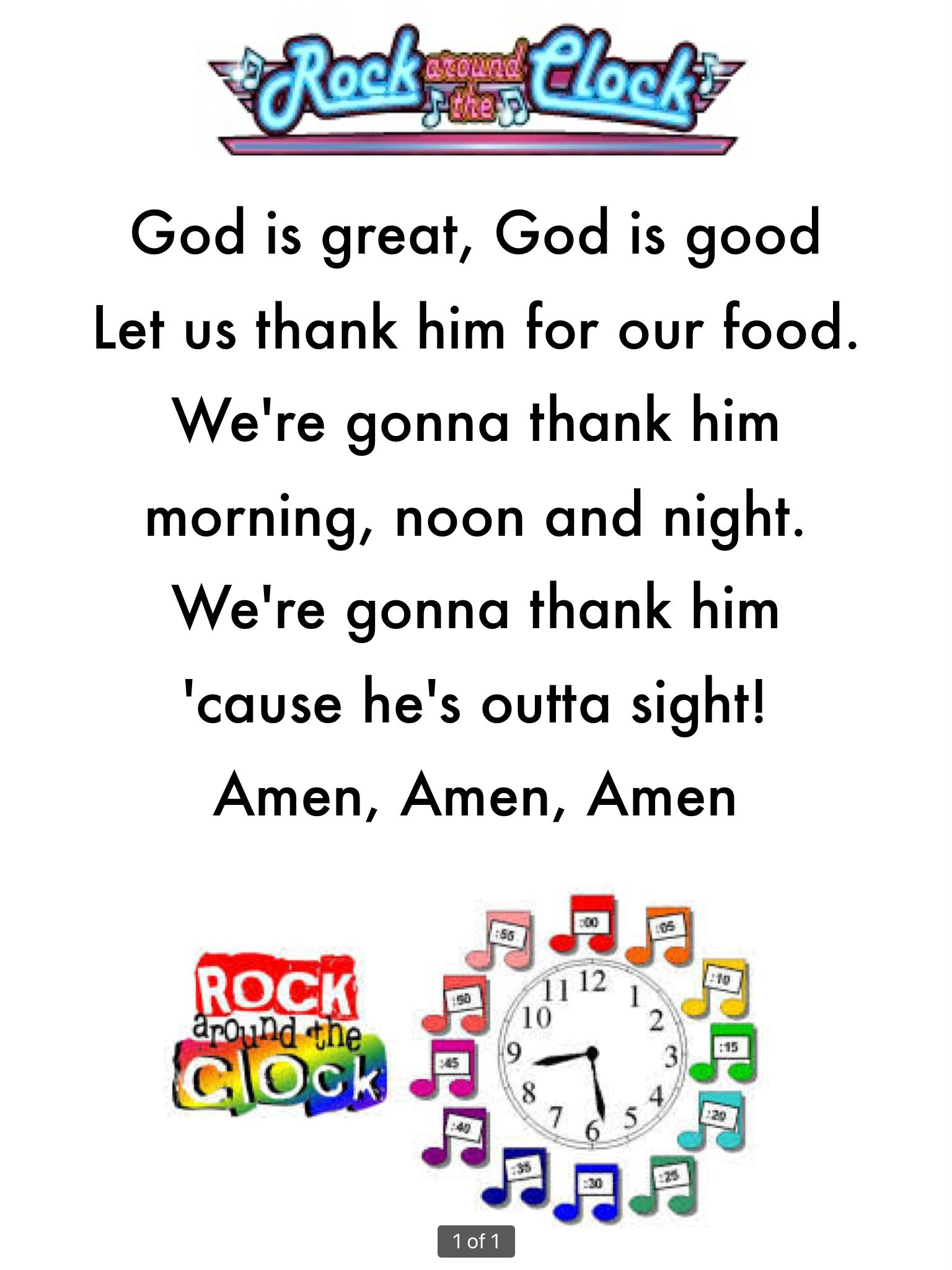 Easy To Learn Grace Or Prayer Before Meals For Preschool