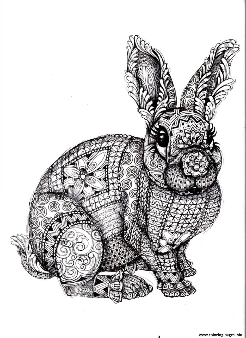 Print Adult Difficult Rabbit Coloring Pages Ideas For The House