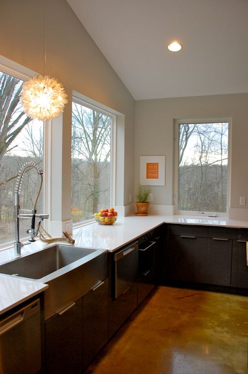 sunny kitchen no upper shelving love this for both the view and art posibilities but need a on farmhouse kitchen no upper cabinets id=65894