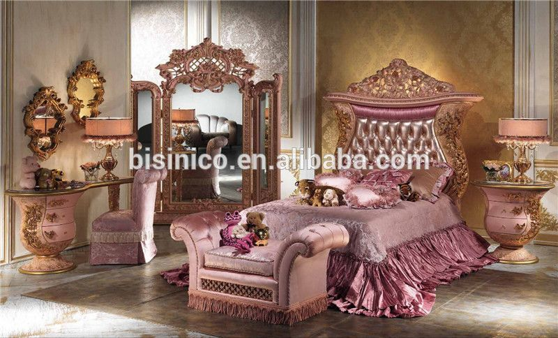 italian luxury design children bedroom furniture set, elegant pink