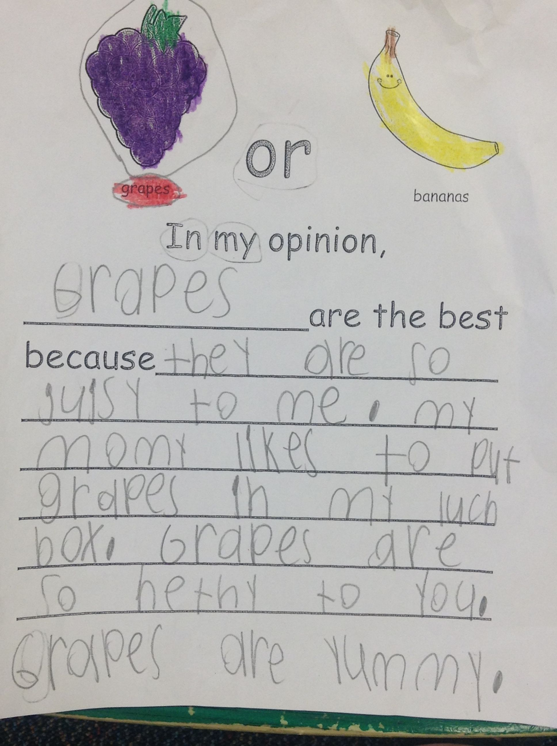 Opinion Writing Favorite Fruit
