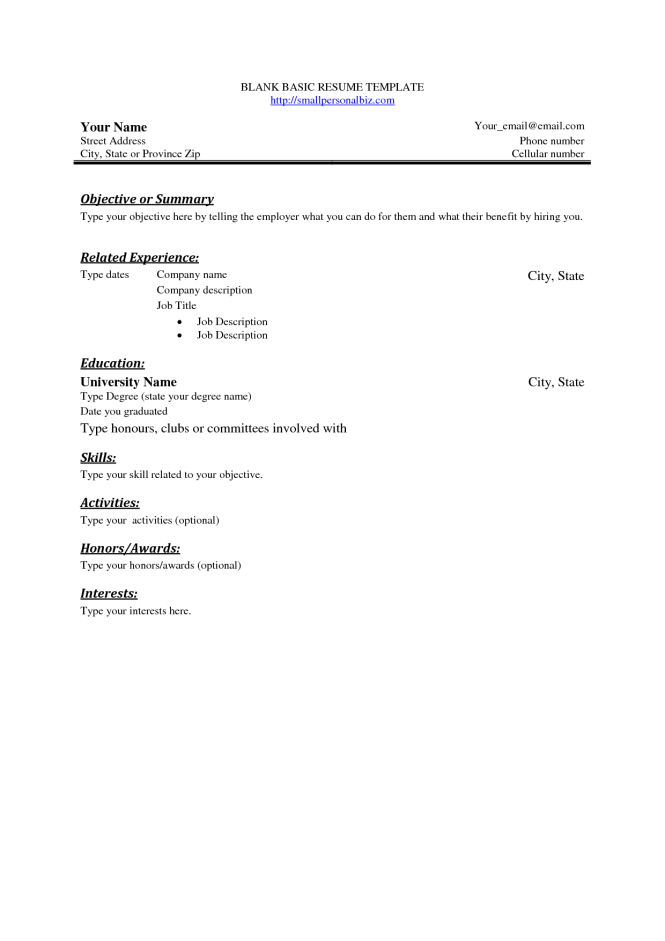 free basic blank resume template sample - Easy Resume Format