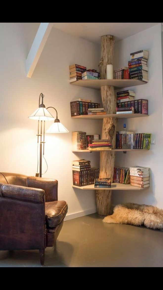 Corner tree bookshelf love this could probably be a diy