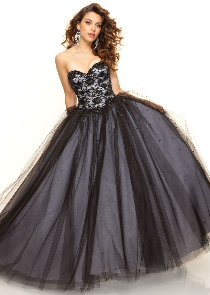 Paparazzi by Mori Lee Beaded Black Ball Gown Dress
