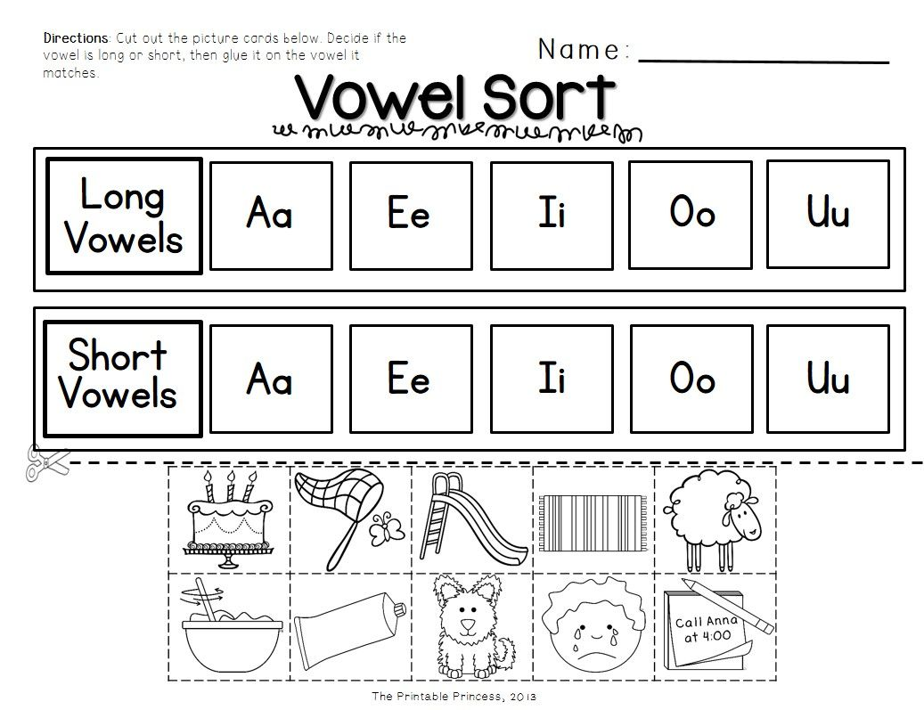 Short Vowels And Long Vowels Activities Pictures And