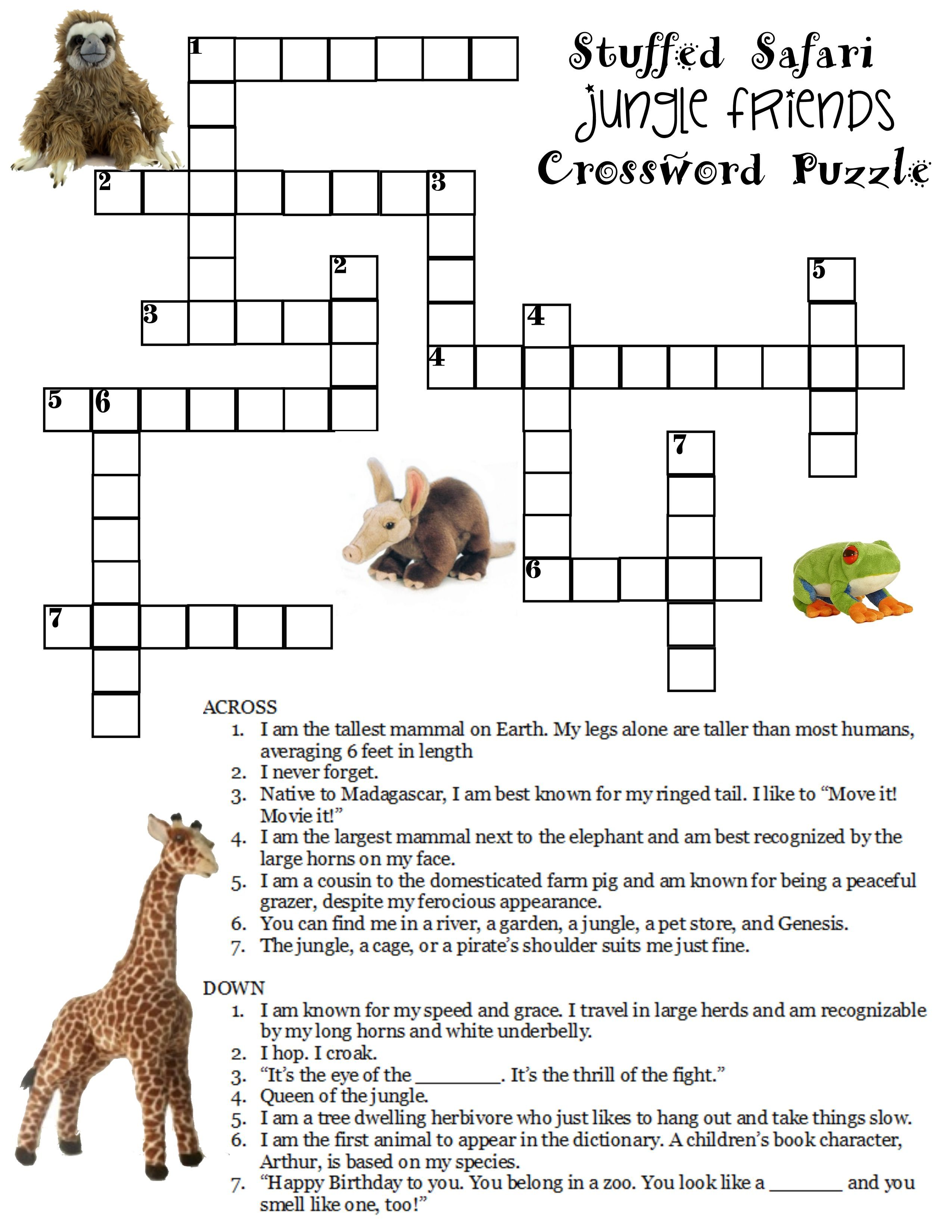 Here Is A Free Jungle Crossword Puzzle Compliments Of