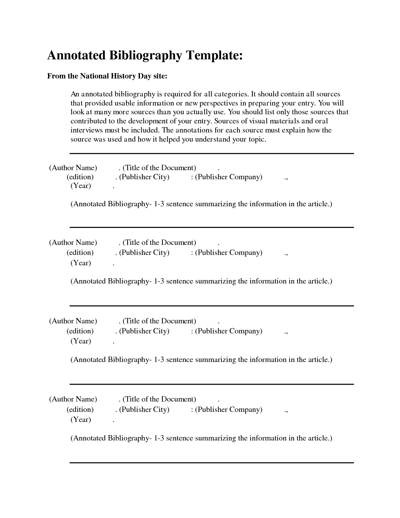 Free Apa Annotated Bibliography Template