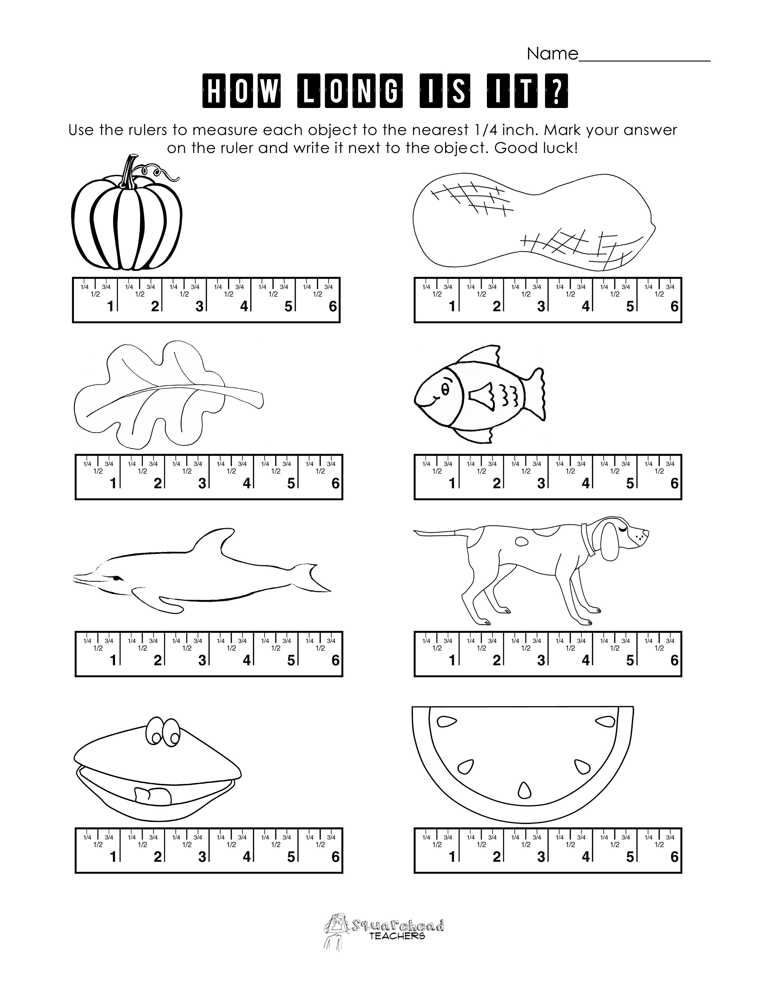 Ruler Measuring Worksheets