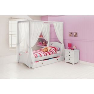 Mia White Four Poster Single Bed With Dilly Mattress At Argos Co Uk