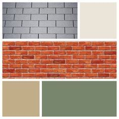 Exterior Color Scheme For Red Brick And Gray Roof Moss Green Door Cream Siding Light Brown Shutters
