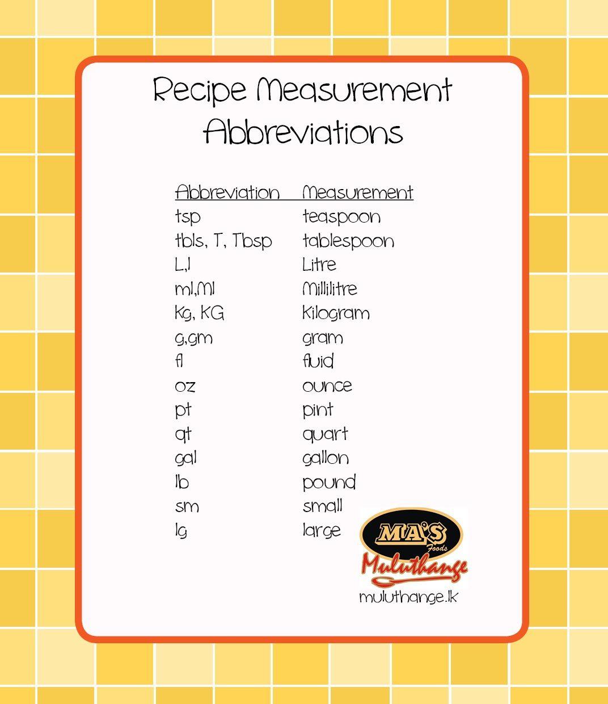 Common Recipe Measurement Abbreviations
