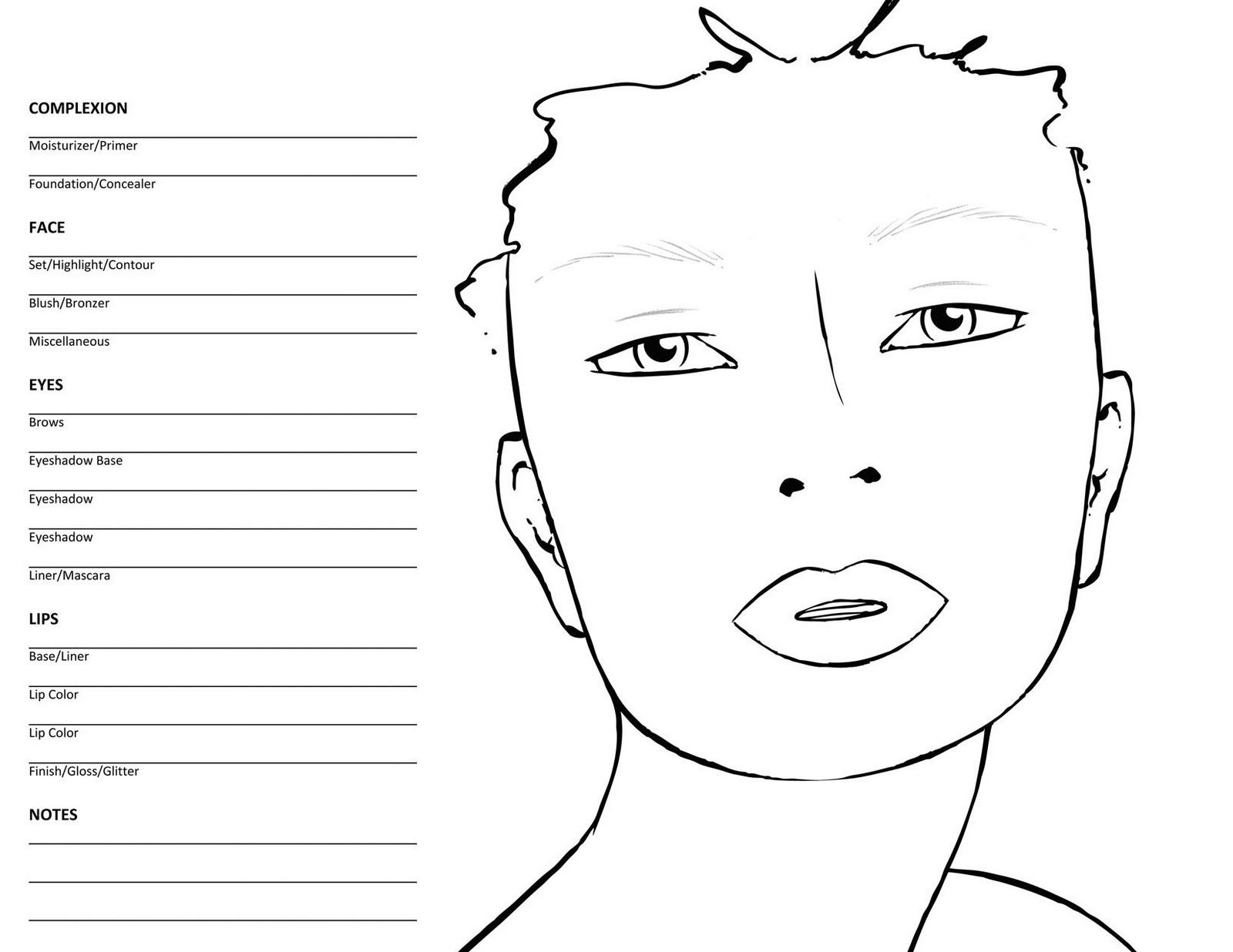 Makeup Face Charts To