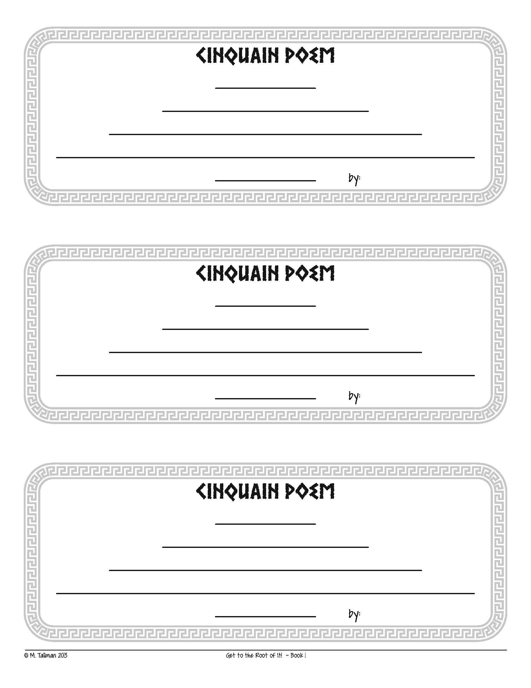 Free Cinquain Poem Instructions And Template Excellent Vocabulary Activity