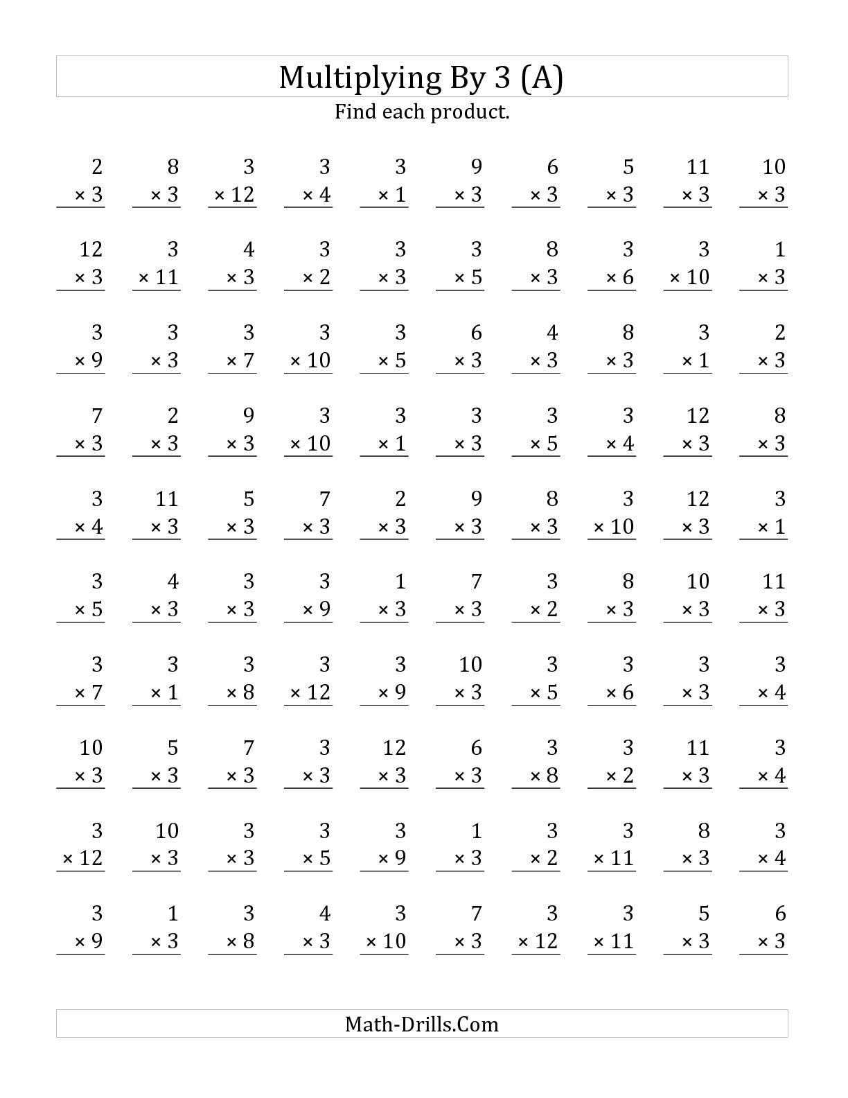 The Multiplying 1 To 12 By 3 A Math Worksheet From The